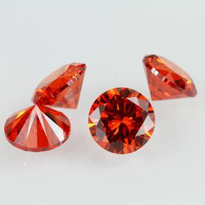 Les pierres lâches synthétiques 1.6-2.3mm rond laboratoire brillant ont créé des pierres précieuses oranges rouges CZ pour la fabrication de bijoux 1000pcs / lot