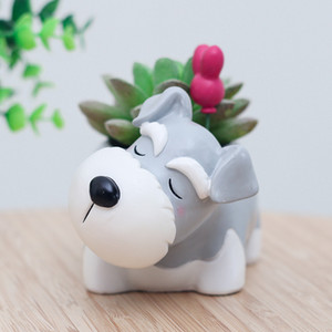Forma Eco-Friendly Schnauzer Dog Pot animal Resina Flowerpot Garden Decor Pots Succulent Plantas Idéias do presente Titular For Him