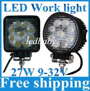 """Ücretsiz Gemi CREE LED Çalışma Işıkları 4 """"27 W Yuvarlak Nokta Sel ışın ile DC9-32V Soğuk Beyaz Çalışma Araba SUV Jeep için sürüş Işıkları"""