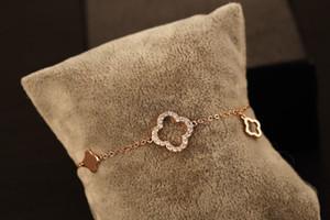 Moda Metal Altın Kaplama Yoncalar Diamante Charm Bilezikler Bilezik İçin Kadınlar Şık Bilezik Kadın Güzel Takı Ücretsiz Kargo