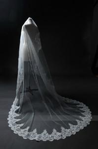 Elegante blanco / marfil largo velo de novia tul de encaje apliques velo de novia para la iglesia 2019 nueva llegada