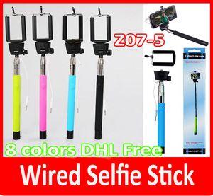 z07-5 더하기 Z07-5 플러스 5s 확장 가능한 Monopod Selfie 스틱 삼각대 휴대용 그루브 Monopods 케이블 아이폰 6에 대한 장대를 가져 IOS IOS