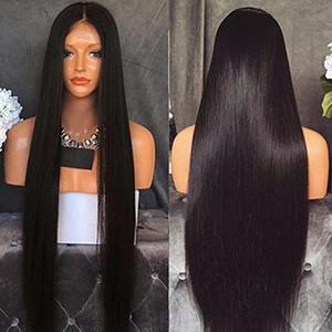 Langes natürliches schauendes seidiges gerades Haar hitzebeständiges Japan Faser-Schwarz-Farben-Haar glueless halb weiche synthetische Spitzefrontseitenperücke schwarze Frauen
