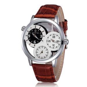 Новые кожаные мужские три часовых пояса циферблат кварцевые часы светящиеся наручные часы марки Skone часы черный коричневый цвет