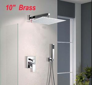 """NUEVO 10 """"Rainfall Bathroom Shower Faucet Single Handle Shower Mixer Montado en pared Cromado Acabado"""