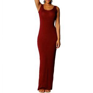 Wholesale- Women Sexy Sleeveless T-shirt Dress Summer Scoop Neck Bodycon Party Long Maxi Dress