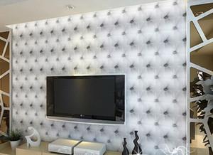 Moda caliente 10 metros / lote bolsa de cuero sintético suave papel tapiz 3d PVC blanco sofá cama tv fondo papel tapiz de pared papel de parede