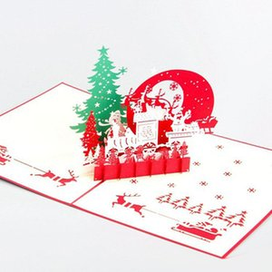 Laser Cut Invitations Christmas tree Handmade 3D Pop Up Card Christmas Eve Greeting Cards free shipping