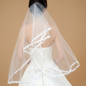 2017 Cheapest!!! Two Layer Tulle Lace Edge Elbow Length In Stock Fast Delivery Ivory White Bridal Veisl Wedding Accessory Veils QM