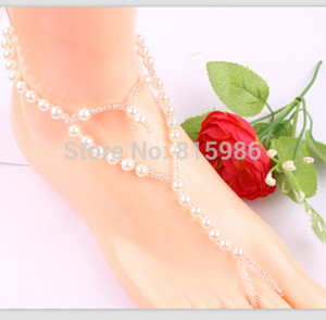 Hotsale beach wedding Heart barefoot sandals casual foot bacelet pearl beads anklets jewelry classic design 10pcs