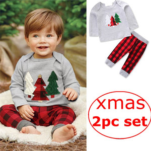Garçons Filles Enfants Xmas 2 Pcs Vêtements Ensembles Coton Arbre De Noël T-shirts Plaid Harem Pantalon Ensemble Printemps Automne Tshirts Enfants Santa Vêtements