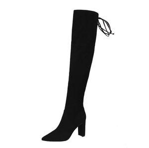 Mujeres Faux Suede Botas altas para la moda del muslo Botas sobre la rodilla Estiramiento Flock Sexy Overknee Tacones altos Zapatos de mujer Negro Rojo gris