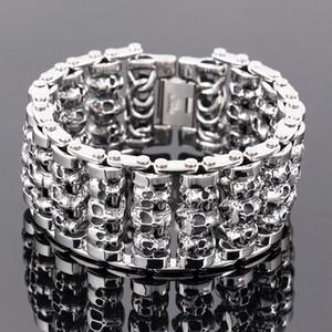 Die neue 316l Edelstahl 35mm riesige schwere solide Silber Herren Skelett Schädel Armband Geist Armreif Biker Punk Jewerly