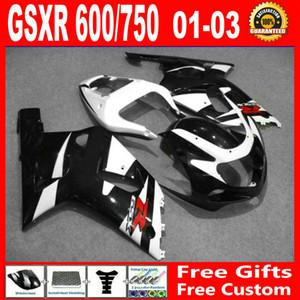 Kit carenatura bianco nero Per carene SUZUKI GSXR 600 2001 2002 2003 GSXR 750 K1 GSXR600 GSXR750 01 02 03 kit carene complete
