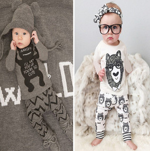 INS baby boy Little monster Cartoon two piece outfits set long Sleeve Short sleeve Printed Tshirt+long Pant Kids clothing monster Pajam E92