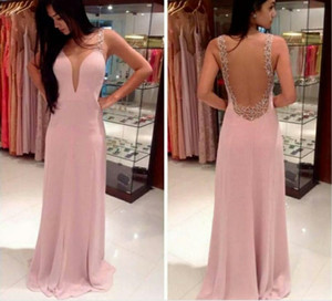 2017 The New Pageant Dresses Deep V-Neck Sexy Backless Floor Length Sleeveless Pink Cultivate Ones Morality Dress Celebrity Gown