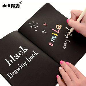 deli A4 A5 schwarz Sketch schwarz papier Schreibwaren Notizblock Skizzenbuch Für Malerei Zeichnung Tagebuch Journal Kreatives Notizbuch Geschenk