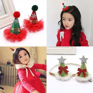 2017 Çocuk Noel Bandı Tüy Yay Kar Çiçek Saç Bandı Kızlar Çocuklar Noel Ağacı Şapkalar Merry Christmas Tokalarım