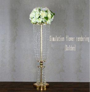 passerelle cristal stand fleur de mariage de luxe mariage route de table plomb fête d'événement Décoration Stand T- centres 80cm