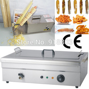 3 in 1 Electric Hot Dog Tornado Twister Spiral Potato Cutter Curly Fries Slicer + 51cm Length Deep Fryer + 35cm Bamboo Stick