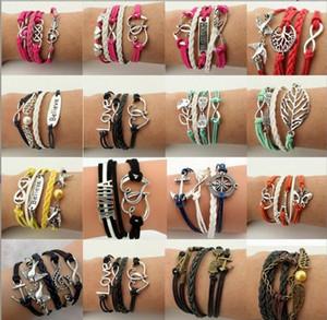 Infinito pulseiras HI-Q Moda jóias Lotes Mistos Infinito Charme Pulseiras Lotes de Prata Estilo escolher para as pessoas de moda multicamadas Pulseiras