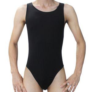 Al por mayor-Moda Hombres calientes Sexy mankini Leotard Underwear Undershirt hombres body Onesies Thong Briefs