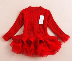 Розничная розничная новая мода детские джемпер девушки осень и зимние платья туту детские свитер тюль платья в наличии