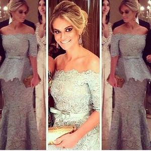 플러스 사이즈 레이스 공식적인 저녁 프로모션 드레스 착용 리본 오프 숄더 하프 슬리브 Peplum Mermaid Occasion Celebrity Party Gowns Custom Arabic