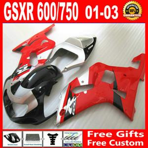 Misura per carenatura Suzuki GSXR 600 750 GSX-R600 gsx-r750 2001 2002 2003 00 01 02 03 Kit di parti della carrozzeria rossa del nastro