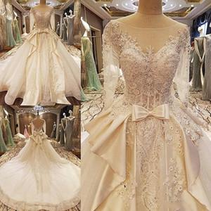 2018 invierno otoño nieve jardín v cuello Vestido de bola mangas largas cristales corbata vestidos de novia vestidos de novia de novia occidental