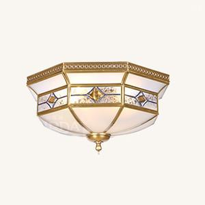 Quarto de Cobre Europeu Luz de Teto Clássico Sala de Estudo Lâmpadas de Teto Sala de Jantar Sala de estar Lâmpada Do Teto