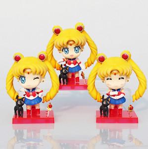 Sailor Moon Figure Tsukino Usagi Q Version PVC Action Figure Giocattoli da collezione Model Dolls Toy 9cm Circa 3pcs / set