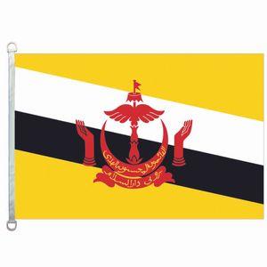 Gute Flagge Brunei kennzeichnet Fahne 3X5FT-90x150cm 100% Polyester-Landesflaggen, 110gsm Warp-Gestrick-Gewebe-im Freien kennzeichnen