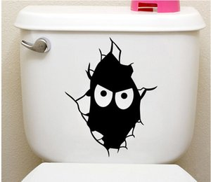 Cartoon Wicky Expression Toilet Sticker Decal Vendita calda divertente nero mascherato Face Art Decor Moda WC decorazione Applique