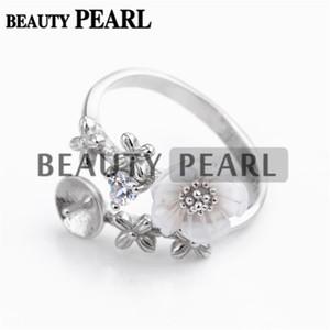 HOPEARL Jóias DIY Monte Definir Flor Anel 925 Prata para Pearl anel de montagem 3 Pieces