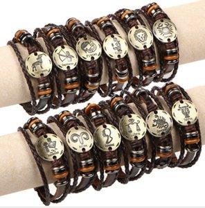 12 CONTELACIONES Pulsera de la moda Pulsera de cuero de vaca Hombres Mujeres Casual Personalidad Zodiaco Signos Punk Bracelet SLI01