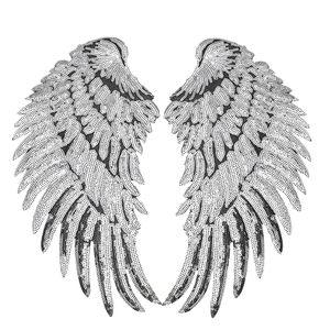 1 Çift Payetli Wings Yama Giyim Çanta için Demir on Nakış Yamalar Kot Ceket için DIY Nakış Rozeti Pul Dikmek