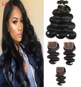 8A Brazilian Virgin Hair with closure Extensions 3 Bundles Brazilian Body Wave With 4x4 Lace Closure Unprocessed Remy Human Hair Weave