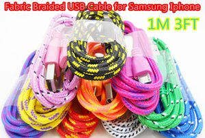 1M 3 FT Braided Rounded USB Cable Data Sync Cable Charging Cord for Cell Phone ap 5 6 6 plus Samsung Galaxy S3 S4 S6 Note4 DHL Free