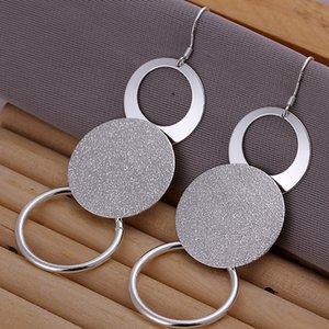 Brand new prata esterlina duplo areia O Brincos DFMSE012, 925 de prata Dangle Brincos Chandelier das mulheres 10 pares de um lote