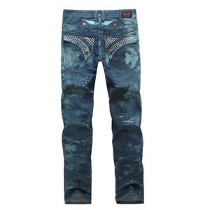 Diseñador de lujo Robin Jeans para hombres con alas American Flag JEANS Straight Denim Cowboy Famous Brand Slim Designer Men Pants Tamaño 30-42