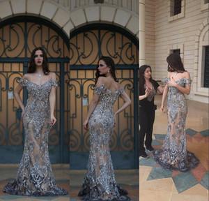 2016 vestidos de noche magníficos de la sirena del diamante artificial del hombro del hombro Backless Champagne vestidos de noche con el vestido cristalino del desfile de plata