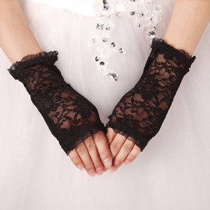 Big Discount Cheap Bridal Gloves Lace Black Glove Hollow Wedding Dress Accessories Bridal Gloves 2021