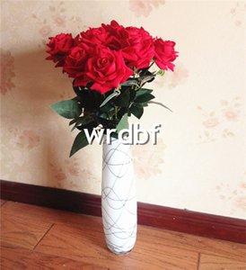 """HOT 12 Pcs 65 cm / 25.59 """"Comprimento Flores Artificiais Simulação Flanela Rosas Único Curling Rose Decoração de Casa Flor Do Casamento"""