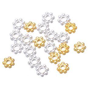 الجملة 5000 × 4MM الذهب والفضة مطلي ديزي فاصل الخرز والمجوهرات الخرز المعدنية حرية الملاحة
