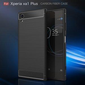 Fibra de carbono capa para Sony Xperia XZ XZS premium XA1 Ultra Pele Além disso XZ1 Compact escovado Silicone borracha macia tampa traseira Magro armadura resistente
