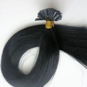 100g 1Set 100Strands Nail U Tip 미리 접착 된 헤어 익스텐션 18 20 22 24inch # 1 / Jet Black 브라질 인도 사람의 머리카락