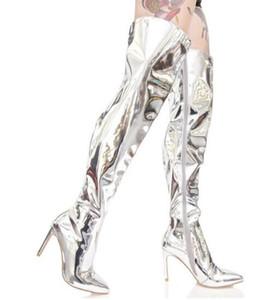 2017 neueste Kim Kardashian Stilettos Silber Gold Spiegel Leder Metallic Overknee Frauen Stiefel Mode Oberschenkel Hohe Booties