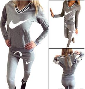 9076 # Mulheres Esporte Terno Moletom Com Capuz Camisola + Calça Femme Marque Survetement Sportswear 2 pc Set Treino S-XL