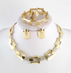 Dubai African 18k placcato oro misteriosa affascinante collana braccialetto orecchino moda romantica vinto da sposa da sposa set di gioielli da sposa